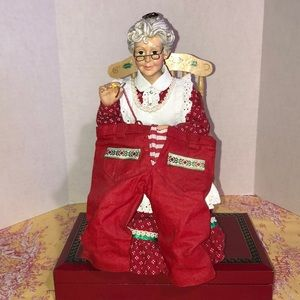 Vintage Mrs. clause sewing Mr. clause pants
